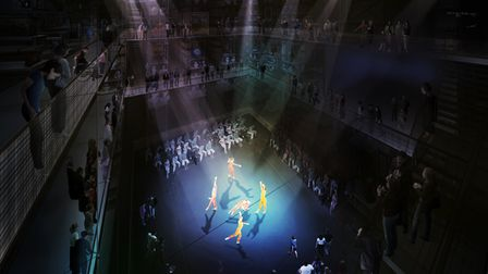 A rendered image showing a performance in the V&A Storehouse.