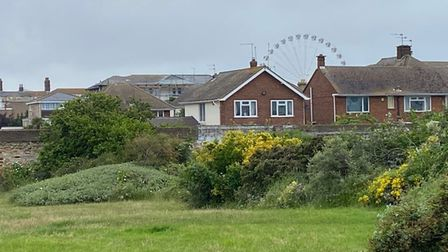 St Nicholas recreation ground in Great Yarmouth, with Seafield Close and the Big Wheel