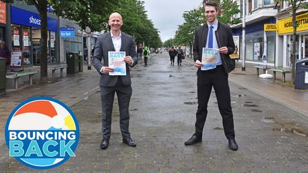 Craig Rivett, East Suffolk's deputy leader, launches the Bouncing Back campaign in Lowestoft with Reece Hanson.