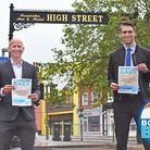 Craig Rivett, East Suffolk's deputy leader, launches the Bouncing Back campaign in Lowestoft with The Journal's Reece Hanson.