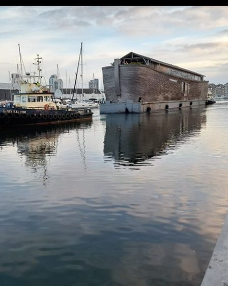 Noah's Ark leaving the waterfront in Ipswich this morning.