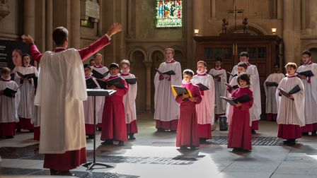 Choristers return to Norwich Cathedral, conducted by Master of Music Ashley Grote. Photograph: Norwi