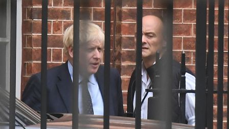 Prime Minister Boris Johnson with his senior aide Dominic Cummings in Downing Street. Photograph: Vi