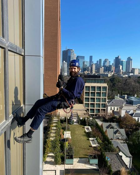 Tom Davies is hanging off skyscrapers in Melbourne, cleaning windows, fixing leaks, doing maintenanc