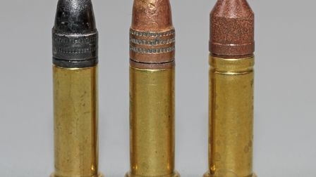 Conventional lead bullet, copper clad Hornady Varmint Express and CCI Copper-22 lead free offering,