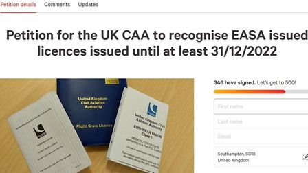 A petition has been launched asking the British Authority 'to recognise EASA licences issued until a