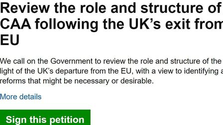 A petition to 'Review the role and structure of the CAA' has been approved and posted on the UK Parl