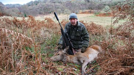 130 yards across that field from the forestry and I dragged it back to the bracken where I took the