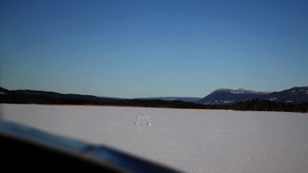 Short final on Vemhåns lake, trying to follow the tracks