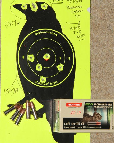The Bergara B14R custom shot well with the Norma Eco-Power but 150 yards was max range as the veloci