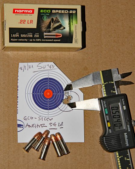 The Norma Eco-Speed shot well at 50 yards from the Anschutz 54 rifle