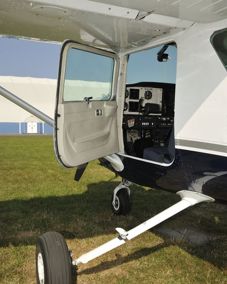 As with all the high-wing Cessnas, 'car doors' on each side of the fuselage allow ready access to th