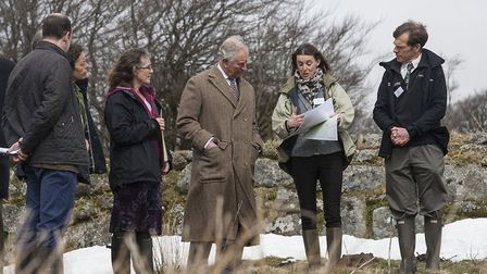 His Royal Highness The Prince of Wales discusses Curlew recovery plans at a Duchy site on Dartmoor i