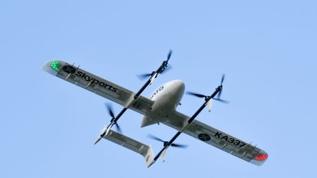 The Skyports drones operate beyond visual line of sight (BVLOS), fly at around 35kt and weigh 17kg