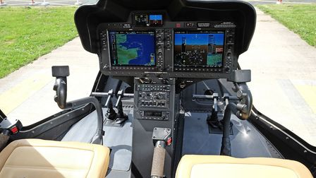 The Bell 505 Jet Ranger X has dual collective levers, positioned conventionally to the left of each