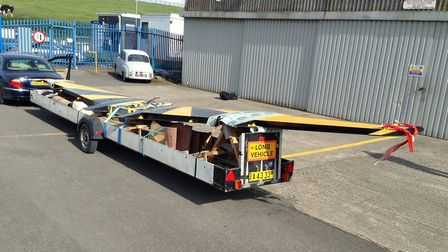 Trip two - the single-piece wing ready to be transported from Staveton after being loaded onto the t