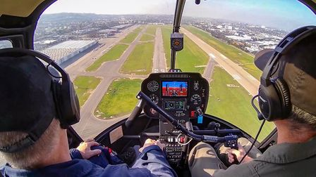 View afforded by the video camera, now available as an option for R22s and R44s, and standard on all