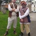 Historian Terry Darrant, left, and Honiton town crier Dave Retter