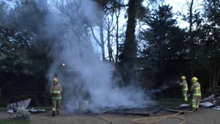 A shelter at Nicholas Everitt Park in Oulton Broad has been destroyed by fire.