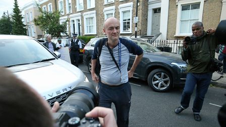 Dominic Cummings arriving back to his north London home, the day after he a gave press conference ov