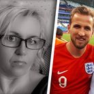 Karen Hogg is pictured on the left, with her nephew Harry Kane and husband Eric on the right during the Russia World Cup 2018