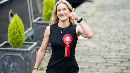 Kim Leadbeater walks along the canal path in Huddersfield after winning the Batley and Spen by-elect