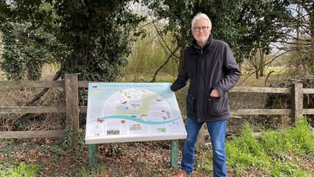Great Ouse Valley Trust trustee Ian Jackson with one of the information boards