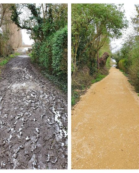 River footpaths restored along the A14 as part of £42.500 funding.