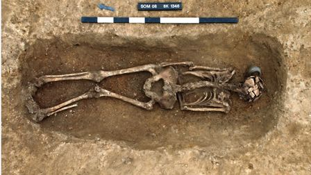 Remains of a skeleton discovered at Knobbs Farm in Somersham