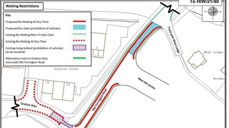 The proposed changes to the Waiting Restrictions in Old Torrington Road in Barnstaple