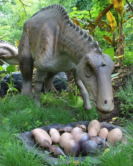 A maiasaura with its hatchlings at Zoorassic Park in Whipsnade Zoo.