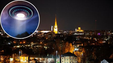 The Norwich skyline at night is failing to attract UFOs