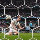 Harry Kane scores England's second goal against Germany at Wembley