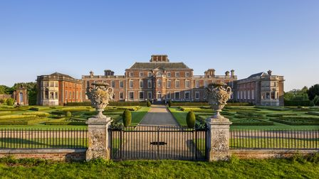 The north front of Wimpole Hall, Cambridgeshire, over the parterre.