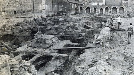 The site of theBlackfriars monastery in School Street, Ipswich, during the archaeological dig in 1985