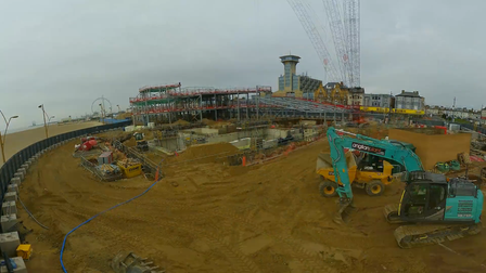Screenshot of time-lapse video of Marina Centre costruction