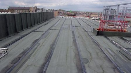 Part of the roof of the new Marina Centre
