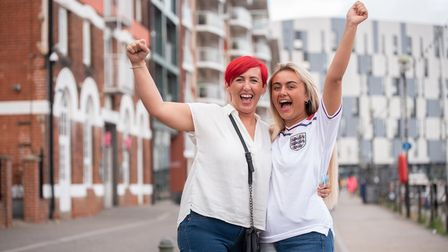 Kelly and Charlotte Herriott on their way to watching the England v Ukraine match at Isaacs. Pictu