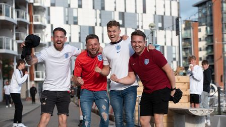 Football fans get excited for the England v Ukraine match. L-R Daryl Francis, Sean Hanley, Nathan Sm