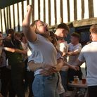 Fans at Isaacs celebrate Harry Kane's first half goal against Ukraine