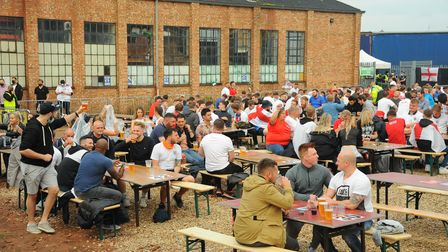 Fans gathered to watch the England v Ukraine match at The Arena in Sprowston. Picture: Danielle Bood