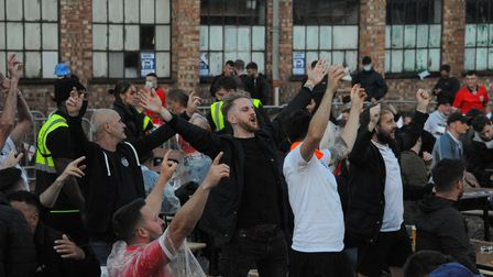 Fans at The Arena in Sprowston celebrate England beating Ukraine in the Euros. Picture: Danielle Boo