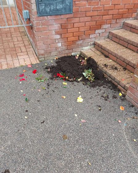 A broken garden pot by the stairs in Sparrow's Nest Park, Lowestoft.