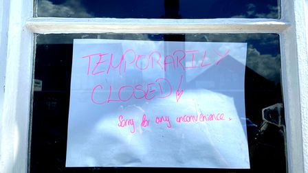 A notice in the Tramway pub window.