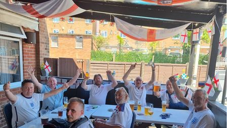 England fans at the Kingfisher in Ipswich