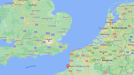 Map of UK and France.