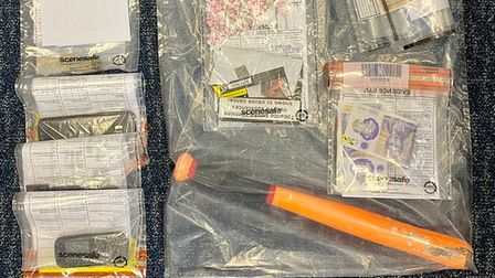Items seized after police arrested a man on Marriott's Way in Norwich.