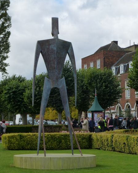 A huge statue in Howardsgate for the filming of Simon Pegg movie The World's End in 2012