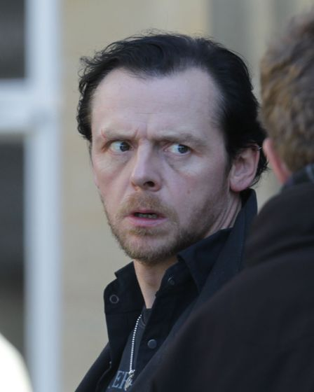 Simon Pegg during filming of 'The World's End' in Welwyn Garden City.