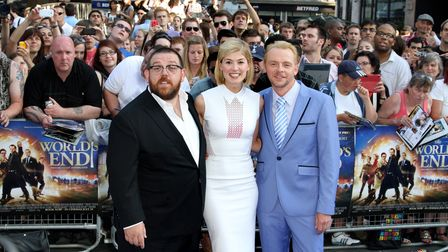 Nick Frost, Rosamund Pike and Simon Pegg at the world premiere of The World's End